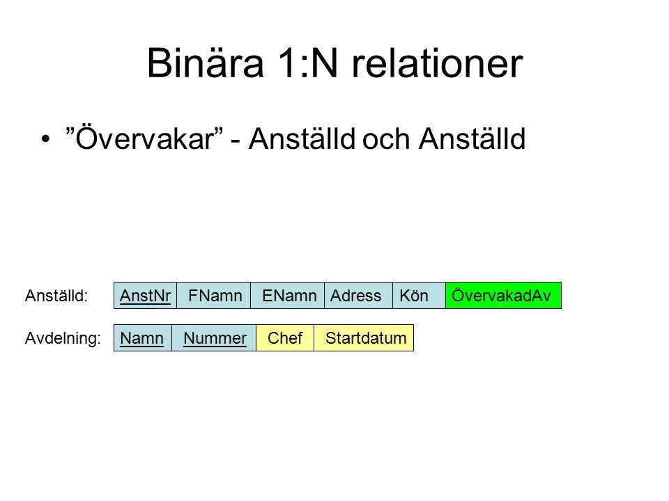 Binära 1:N relationer Styr – Avdelning och Projekt Avdelning:NamnNummerChefStartdatum Projekt:NamnStyrsAv