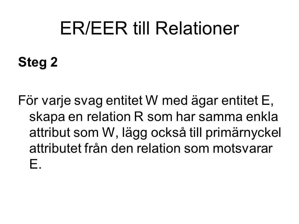 ER/EER till Relationer Steg 3 För varje binär 1:1 relation, identifiera de relationer som motsvarar de ingående entiteterna, S och T.