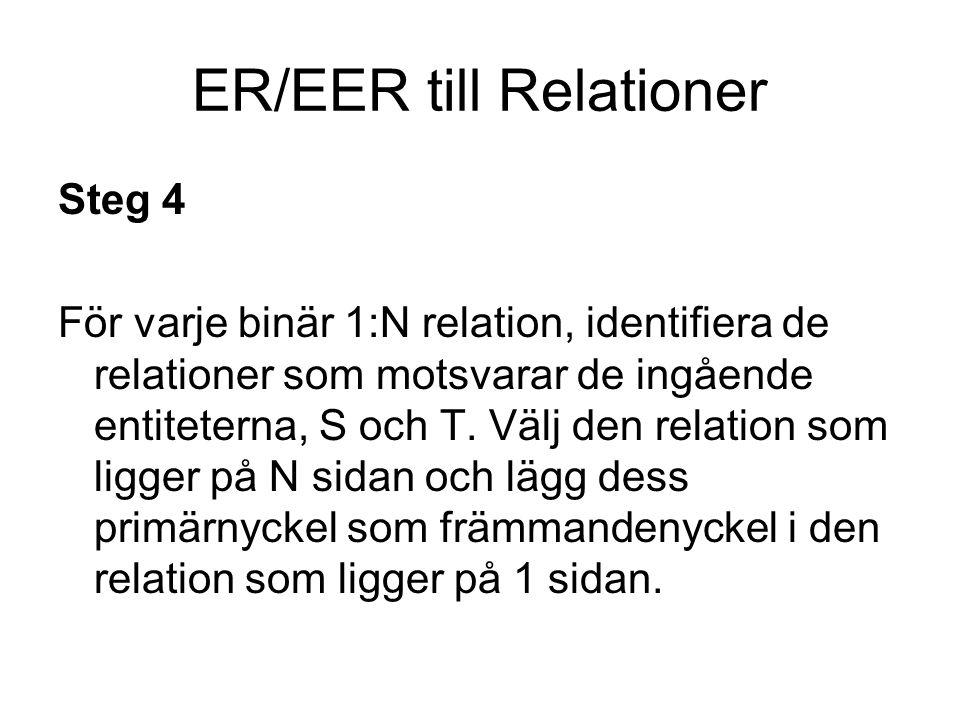 ER/EER till Relationer Steg 5 För varje binär N:M relation, identifiera de relationer som motsvarar de ingående entiteterna, S och T.