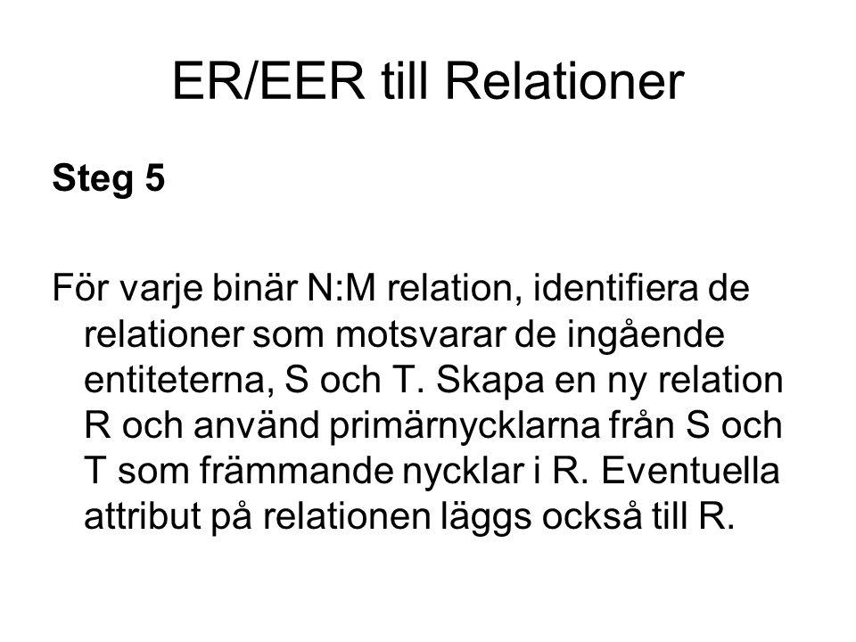 ER/EER till Relationer Steg 6 För varje multivärt attribut A i R, skapa en ny relation R som innehåller att attribut som motsvarar A samt primärnyckeln för R som främmande nyckel.