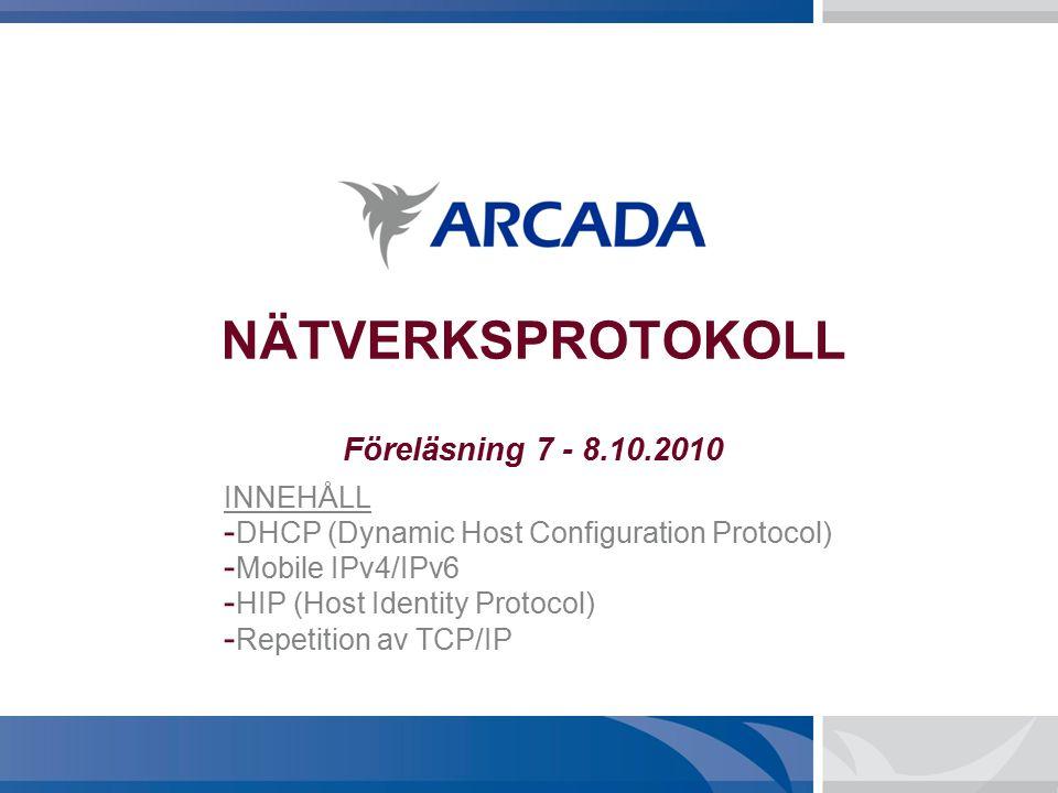 NÄTVERKSPROTOKOLL Föreläsning 7 - 8.10.2010 INNEHÅLL - DHCP (Dynamic Host Configuration Protocol) - Mobile IPv4/IPv6 - HIP (Host Identity Protocol) - Repetition av TCP/IP
