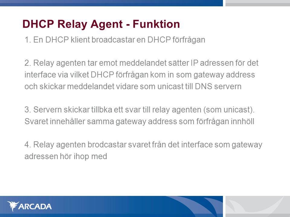 DHCP Relay Agent - Funktion 1. En DHCP klient broadcastar en DHCP förfrågan 2.