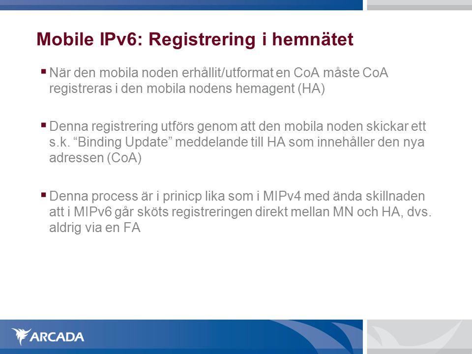 Mobile IPv6: Registrering i hemnätet  När den mobila noden erhållit/utformat en CoA måste CoA registreras i den mobila nodens hemagent (HA)  Denna registrering utförs genom att den mobila noden skickar ett s.k.