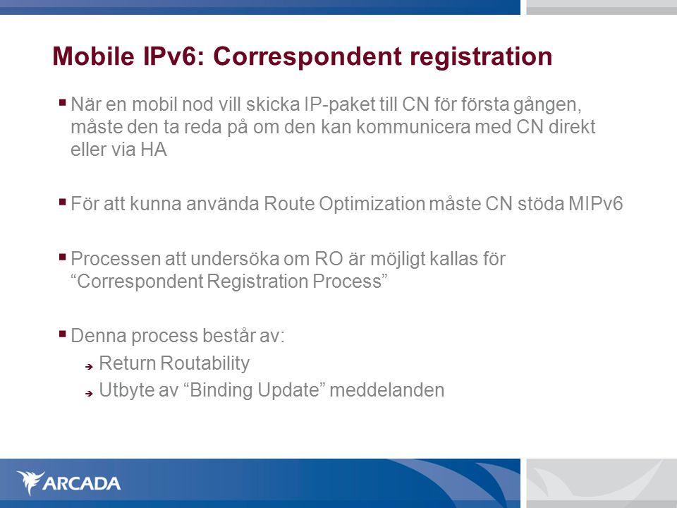 Mobile IPv6: Correspondent registration  När en mobil nod vill skicka IP-paket till CN för första gången, måste den ta reda på om den kan kommunicera med CN direkt eller via HA  För att kunna använda Route Optimization måste CN stöda MIPv6  Processen att undersöka om RO är möjligt kallas för Correspondent Registration Process  Denna process består av:  Return Routability  Utbyte av Binding Update meddelanden