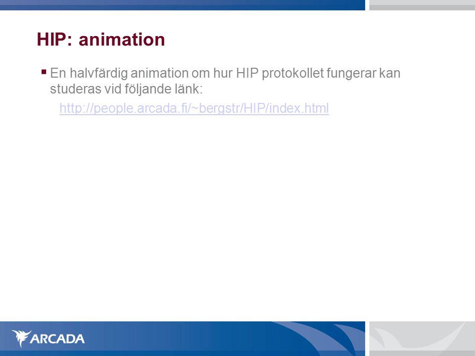 HIP: animation  En halvfärdig animation om hur HIP protokollet fungerar kan studeras vid följande länk: http://people.arcada.fi/~bergstr/HIP/index.html
