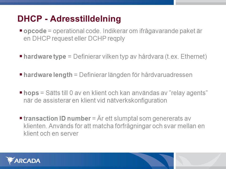 DHCP - Adresstilldelning  opcode = operational code.