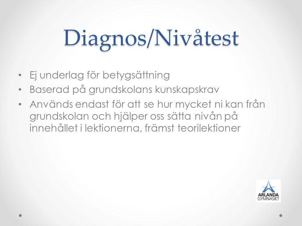 Diagnos/Nivåtest Ej underlag för betygsättning Baserad på grundskolans kunskapskrav Används endast för att se hur mycket ni kan från grundskolan och h