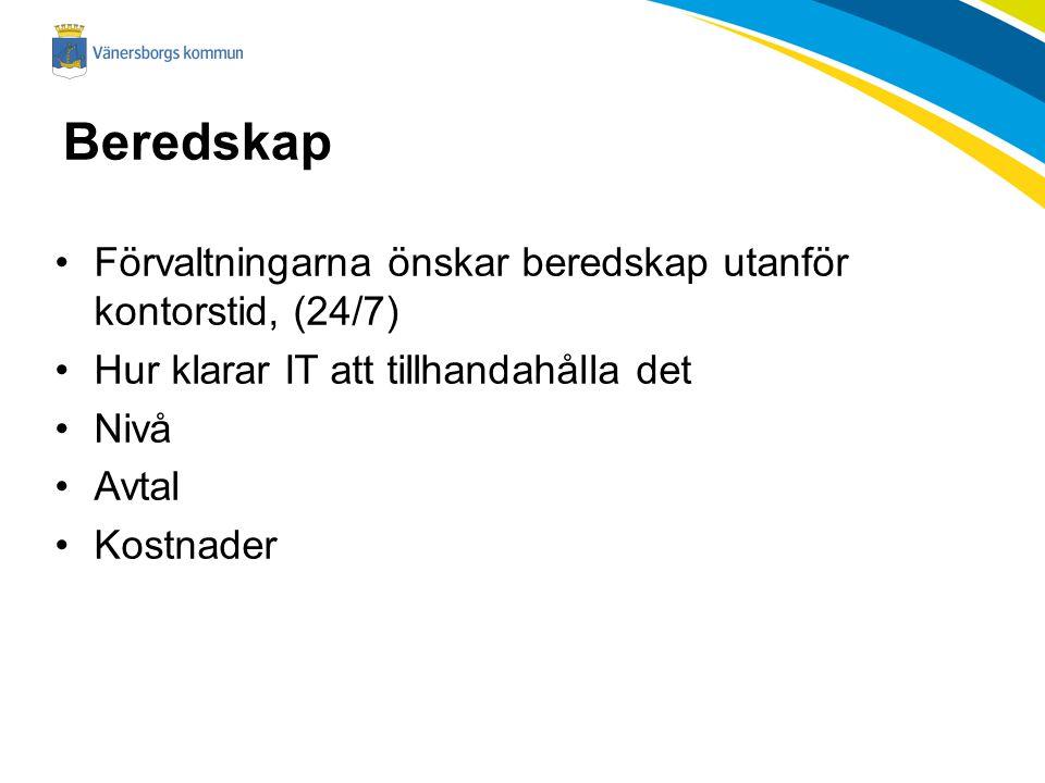 Beredskap Förvaltningarna önskar beredskap utanför kontorstid, (24/7) Hur klarar IT att tillhandahålla det Nivå Avtal Kostnader