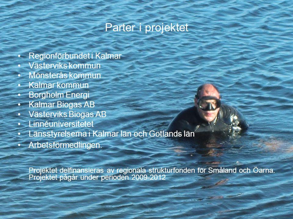 Parter i projektet Regionförbundet i Kalmar Västerviks kommun Mönsterås kommun Kalmar kommun Borgholm Energi Kalmar Biogas AB Västerviks Biogas AB Linnéuniversitetet Länsstyrelserna i Kalmar län och Gotlands län Arbetsförmedlingen.