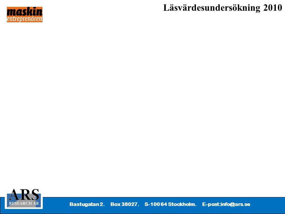 Bastugatan 2. Box 38027. S-100 64 Stockholm. E-post:info@ars.se Läsvärdesundersökning 2010