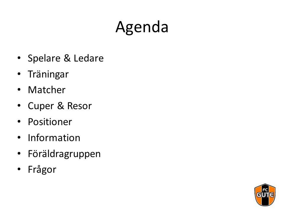 Agenda Spelare & Ledare Träningar Matcher Cuper & Resor Positioner Information Föräldragruppen Frågor
