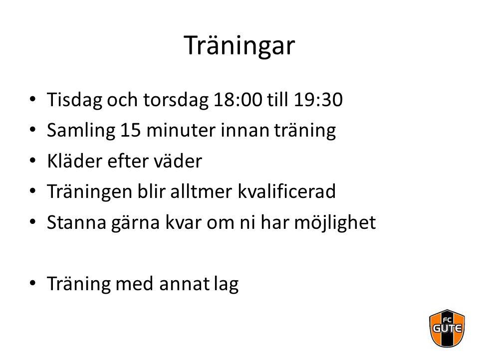 Träningar Tisdag och torsdag 18:00 till 19:30 Samling 15 minuter innan träning Kläder efter väder Träningen blir alltmer kvalificerad Stanna gärna kva