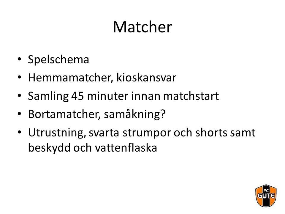Matcher Spelschema Hemmamatcher, kioskansvar Samling 45 minuter innan matchstart Bortamatcher, samåkning? Utrustning, svarta strumpor och shorts samt