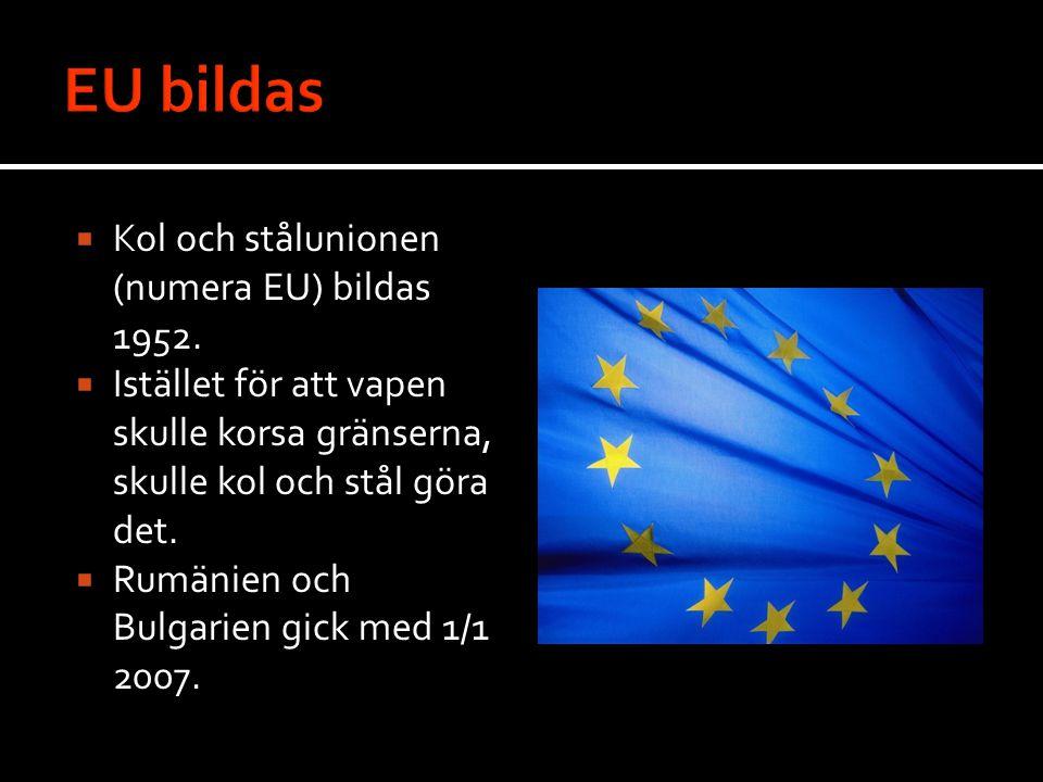  Kol och stålunionen (numera EU) bildas 1952.