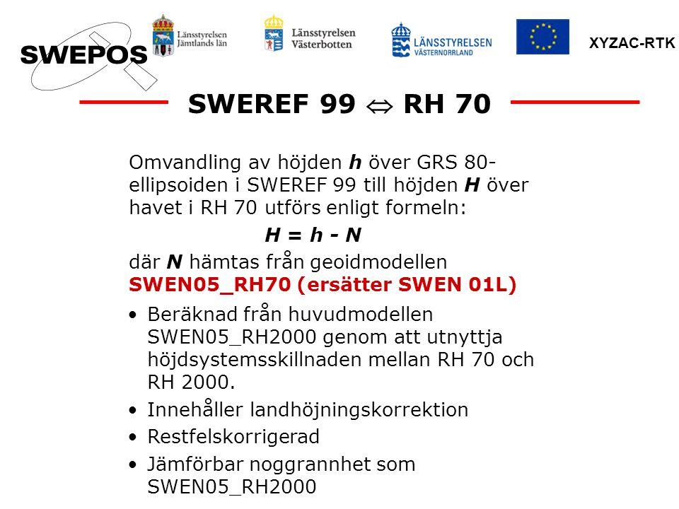 XYZAC-RTK SWEREF 99  RH 70 Omvandling av höjden h över GRS 80- ellipsoiden i SWEREF 99 till höjden H över havet i RH 70 utförs enligt formeln: H = h