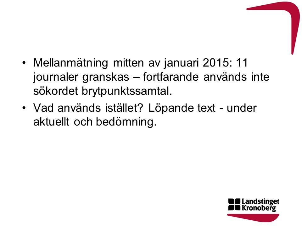 Mellanmätning mitten av januari 2015: 11 journaler granskas – fortfarande används inte sökordet brytpunktssamtal. Vad används istället? Löpande text -