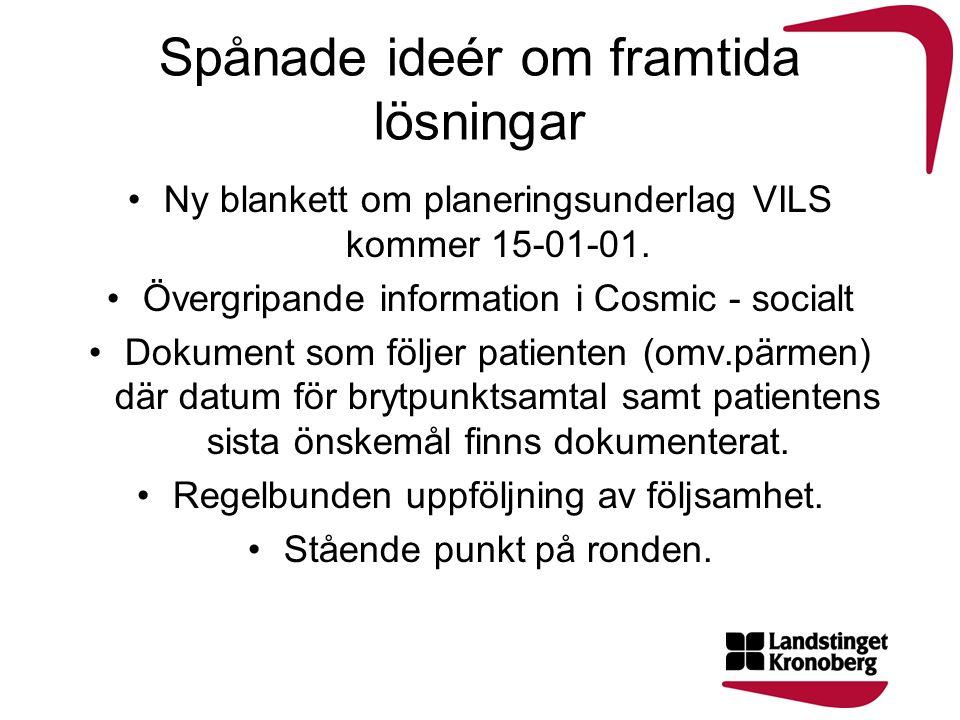 Spånade ideér om framtida lösningar Ny blankett om planeringsunderlag VILS kommer 15-01-01.
