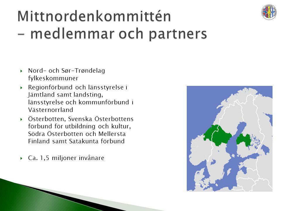  Nord- och Sør-Trøndelag fylkeskommuner  Regionförbund och länsstyrelse i Jämtland samt landsting, länsstyrelse och kommunförbund i Västernorrland  Österbotten, Svenska Österbottens förbund för utbildning och kultur, Södra Österbotten och Mellersta Finland samt Satakunta förbund  Ca.