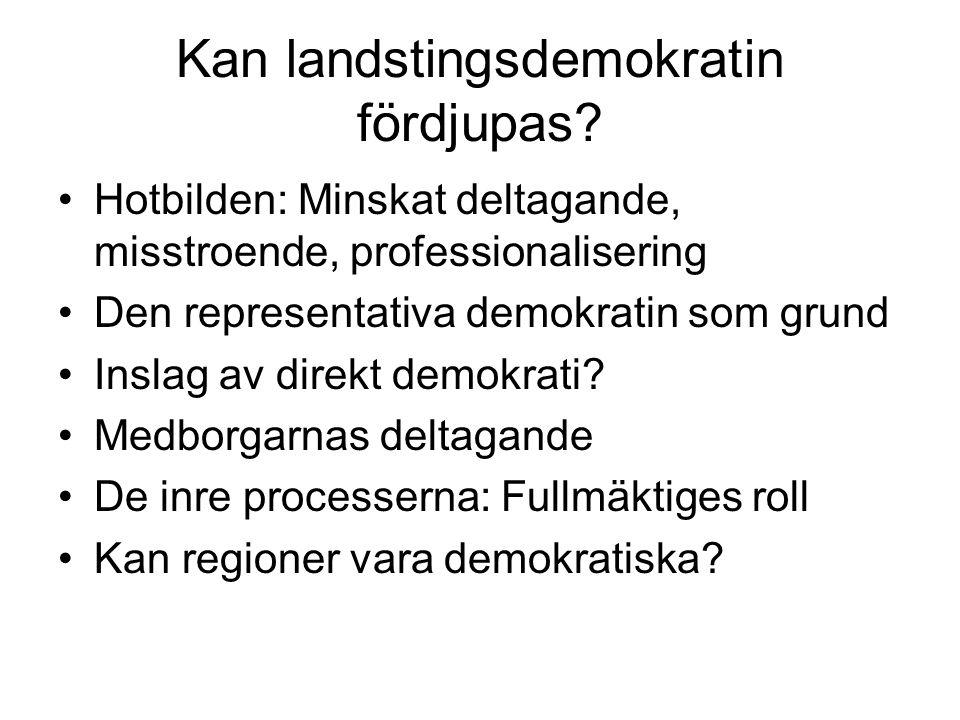 Kan landstingsdemokratin fördjupas? Hotbilden: Minskat deltagande, misstroende, professionalisering Den representativa demokratin som grund Inslag av