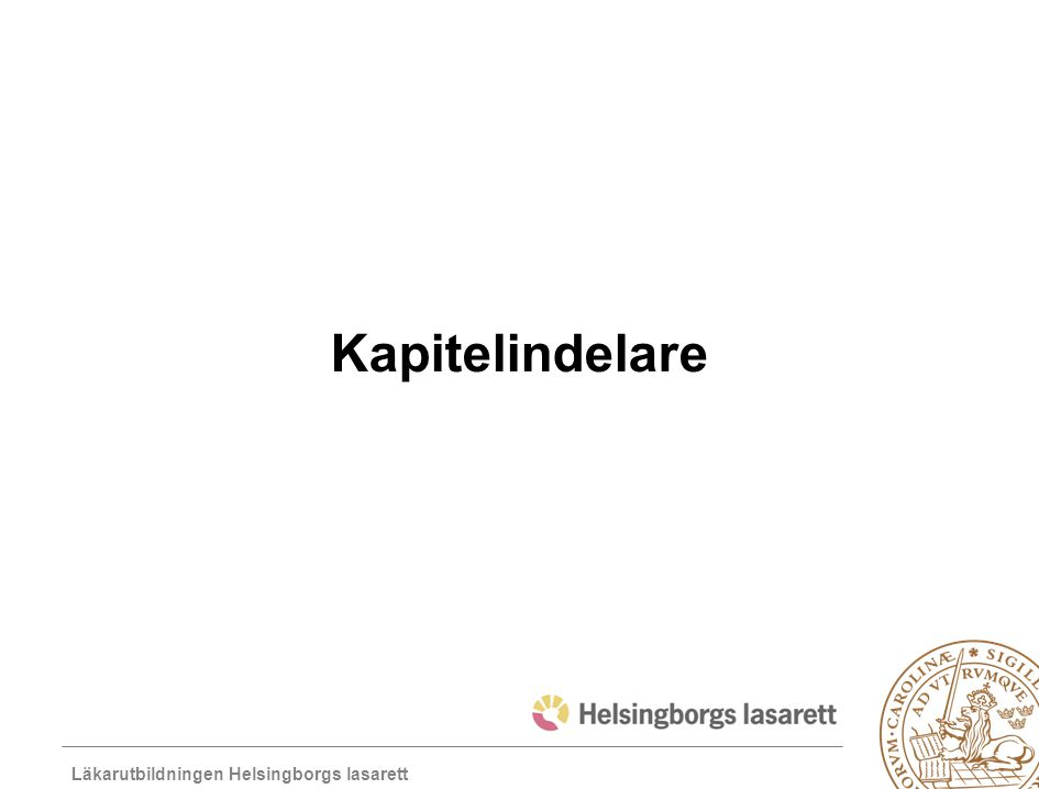 Läkarutbildningen Helsingborgs lasarett Kapitelindelare