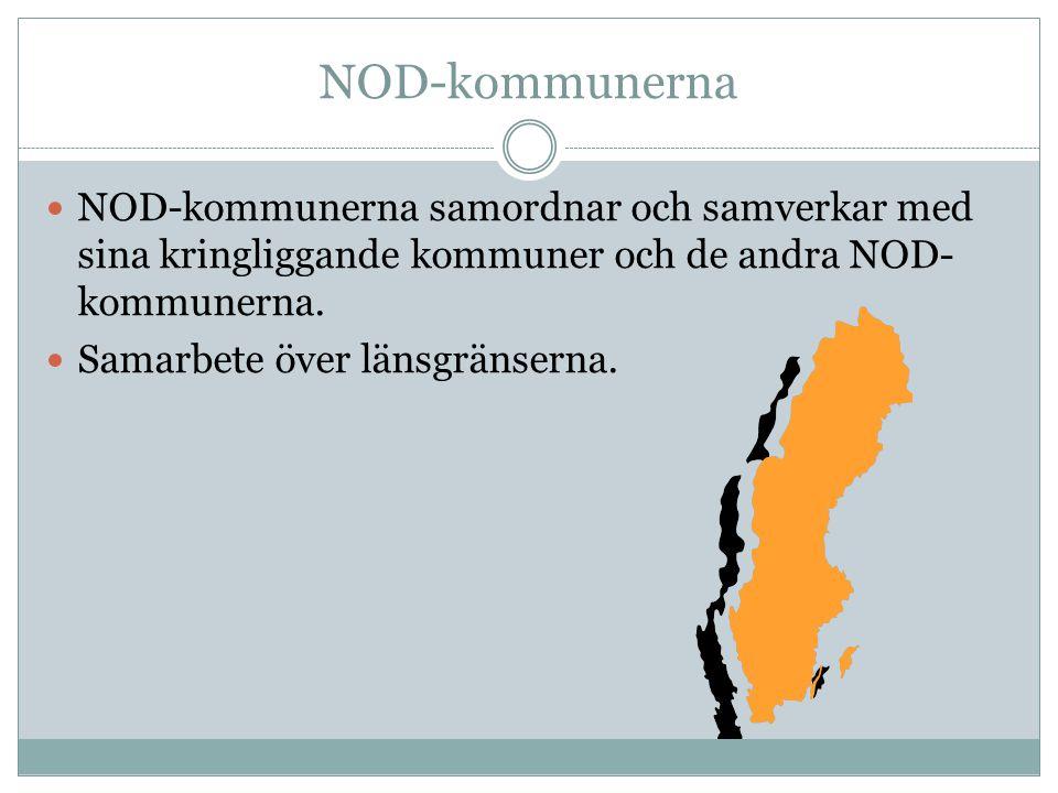 NOD-kommunerna NOD-kommunerna samordnar och samverkar med sina kringliggande kommuner och de andra NOD- kommunerna. Samarbete över länsgränserna.