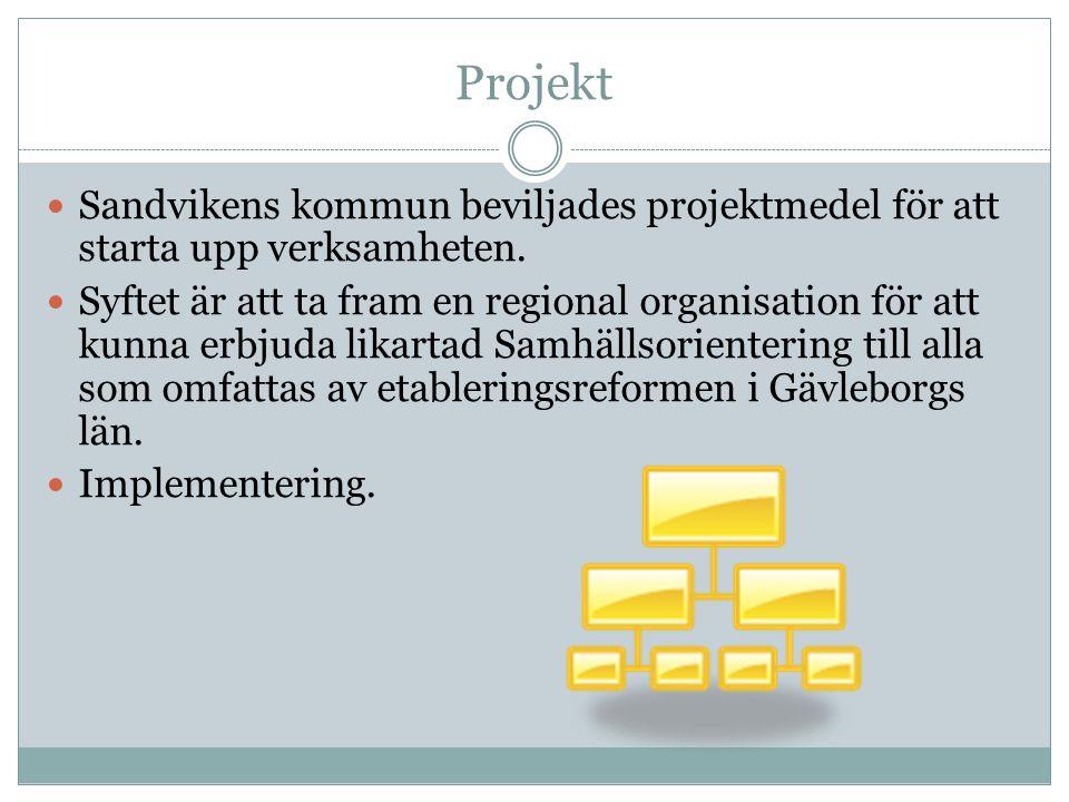 Projekt Sandvikens kommun beviljades projektmedel för att starta upp verksamheten. Syftet är att ta fram en regional organisation för att kunna erbjud
