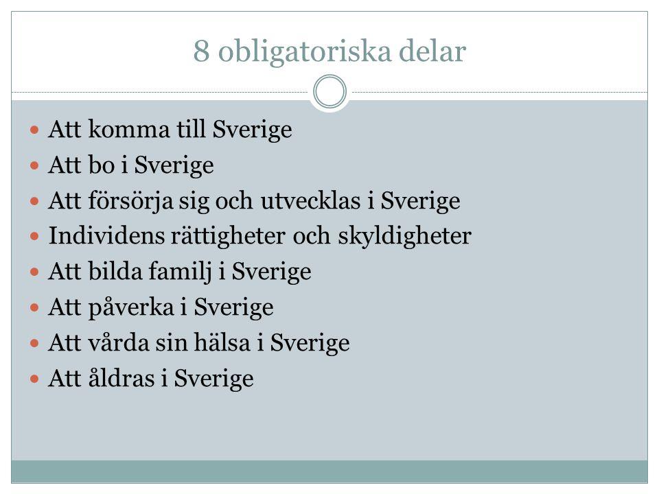 8 obligatoriska delar Att komma till Sverige Att bo i Sverige Att försörja sig och utvecklas i Sverige Individens rättigheter och skyldigheter Att bil