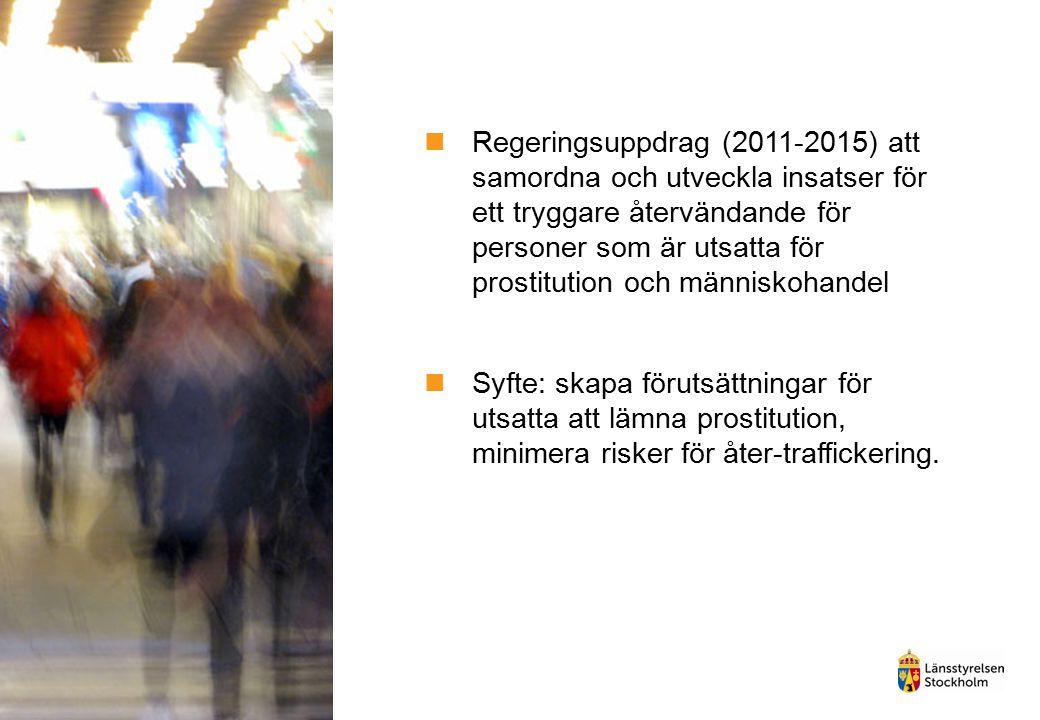 Regeringsuppdrag (2011-2015) att samordna och utveckla insatser för ett tryggare återvändande för personer som är utsatta för prostitution och människ