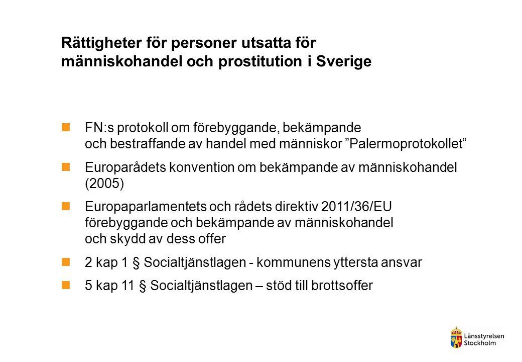 Rättigheter för personer utsatta för människohandel och prostitution i Sverige FN:s protokoll om förebyggande, bekämpande och bestraffande av handel m