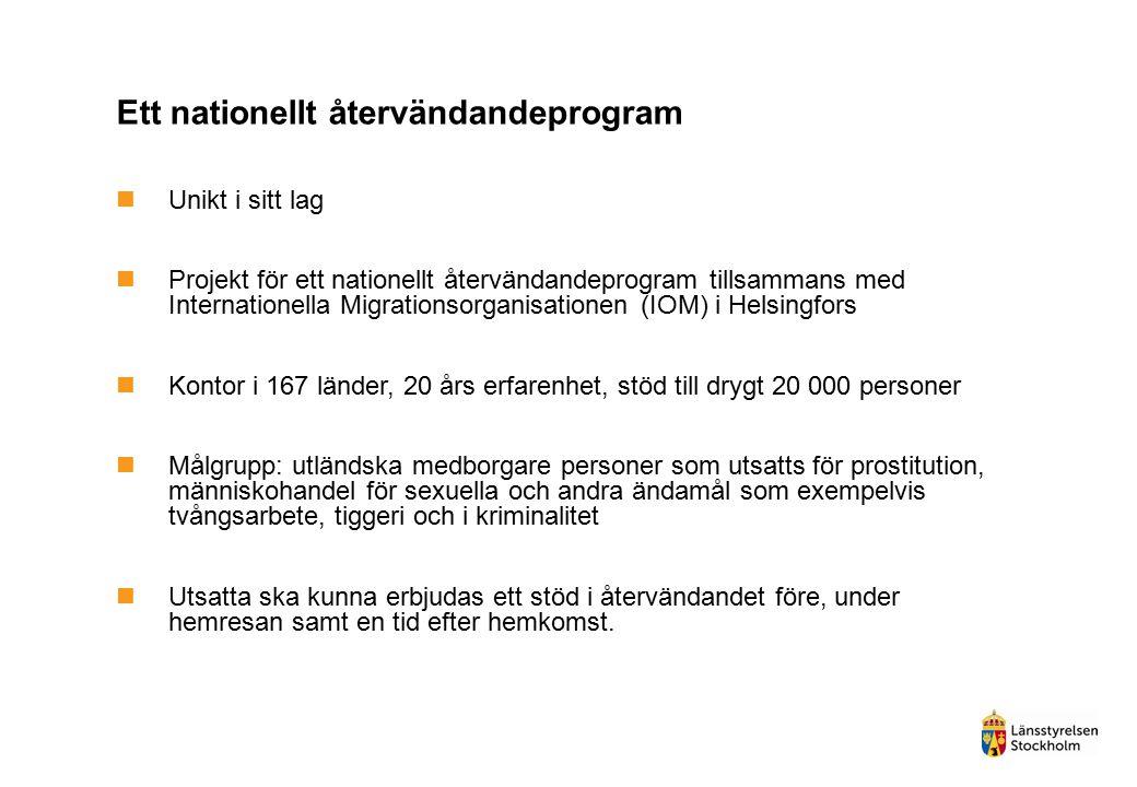 Ett nationellt återvändandeprogram Unikt i sitt lag Projekt för ett nationellt återvändandeprogram tillsammans med Internationella Migrationsorganisat