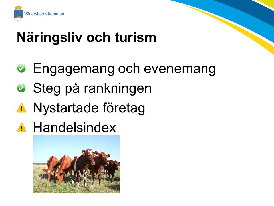 Näringsliv och turism Engagemang och evenemang Steg på rankningen Nystartade företag Handelsindex