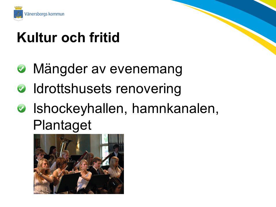 Kultur och fritid Mängder av evenemang Idrottshusets renovering Ishockeyhallen, hamnkanalen, Plantaget