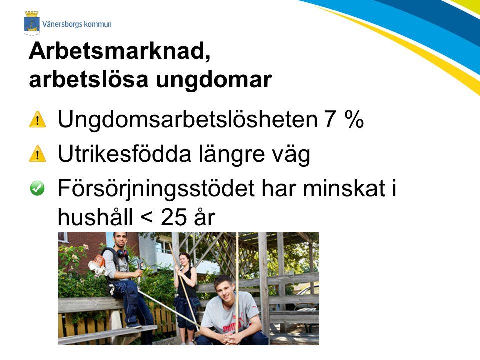 Arbetsmarknad, arbetslösa ungdomar Ungdomsarbetslösheten 7 % Utrikesfödda längre väg Försörjningsstödet har minskat i hushåll < 25 år