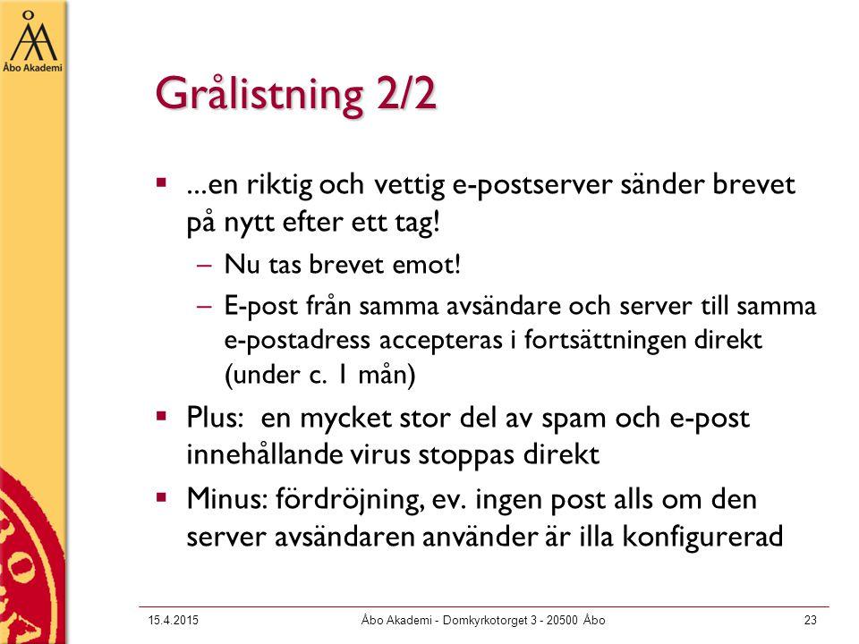 15.4.2015Åbo Akademi - Domkyrkotorget 3 - 20500 Åbo23 Grålistning 2/2 ...en riktig och vettig e-postserver sänder brevet på nytt efter ett tag.