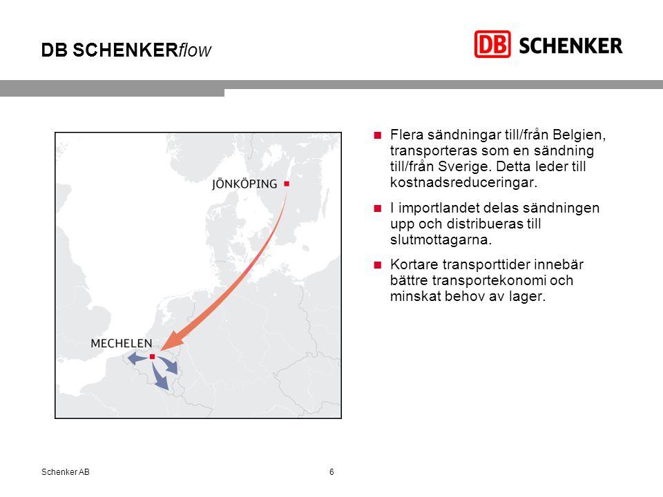 DB SCHENKERflow 6Schenker AB Flera sändningar till/från Belgien, transporteras som en sändning till/från Sverige. Detta leder till kostnadsreduceringa