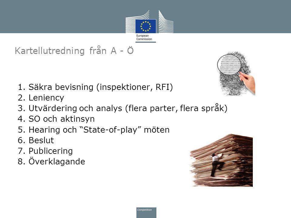 1. Säkra bevisning (inspektioner, RFI) 2. Leniency 3.