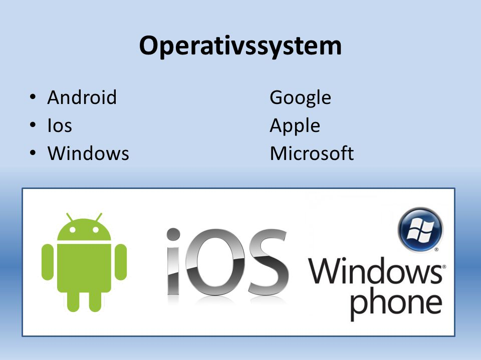 Operativssystem AndroidGoogle IosApple WindowsMicrosoft