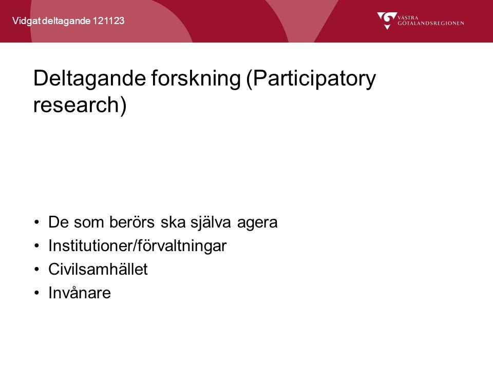 Vidgat deltagande 121123 Deltagande forskning (Participatory research) De som berörs ska själva agera Institutioner/förvaltningar Civilsamhället Invånare