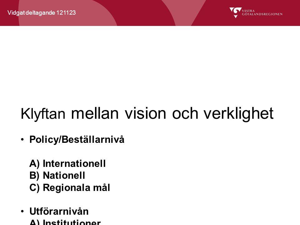 Vidgat deltagande 121123 Klyftan mellan vision och verklighet Policy/Beställarnivå A) Internationell B) Nationell C) Regionala mål Utförarnivån A) Institutioner B) Kulturpolitiska uppdrag Verkligheten