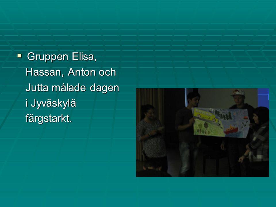  Gruppen Elisa, Hassan, Anton och Hassan, Anton och Jutta målade dagen Jutta målade dagen i Jyväskylä i Jyväskylä färgstarkt.