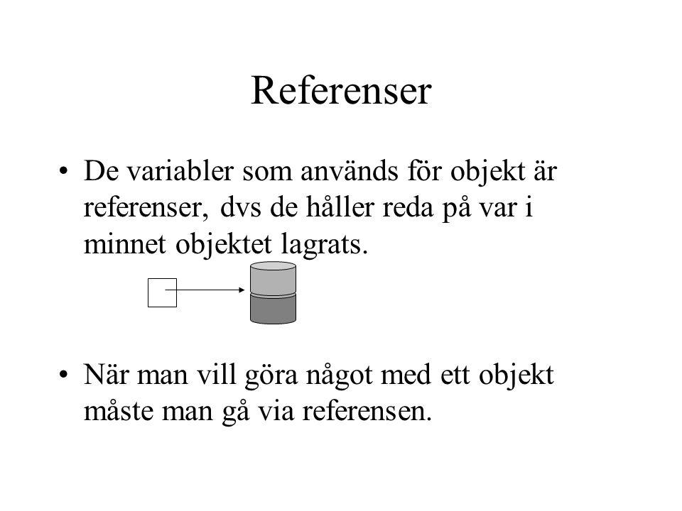 Referenser De variabler som används för objekt är referenser, dvs de håller reda på var i minnet objektet lagrats. När man vill göra något med ett obj