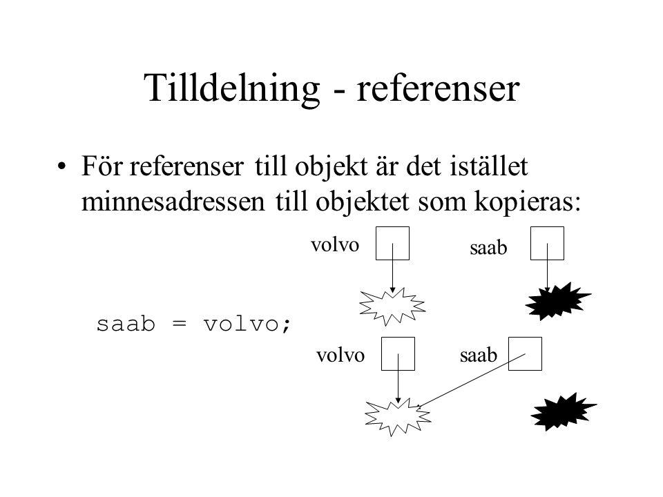 Tilldelning - referenser För referenser till objekt är det istället minnesadressen till objektet som kopieras: volvo saab saab = volvo;
