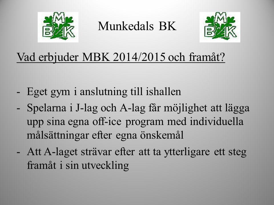 Vad erbjuder MBK 2014/2015 och framåt? -Eget gym i anslutning till ishallen -Spelarna i J-lag och A-lag får möjlighet att lägga upp sina egna off-ice
