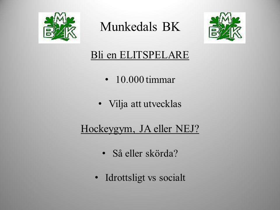 Bli en ELITSPELARE 10.000 timmar Vilja att utvecklas Hockeygym, JA eller NEJ? Så eller skörda? Idrottsligt vs socialt Munkedals BK
