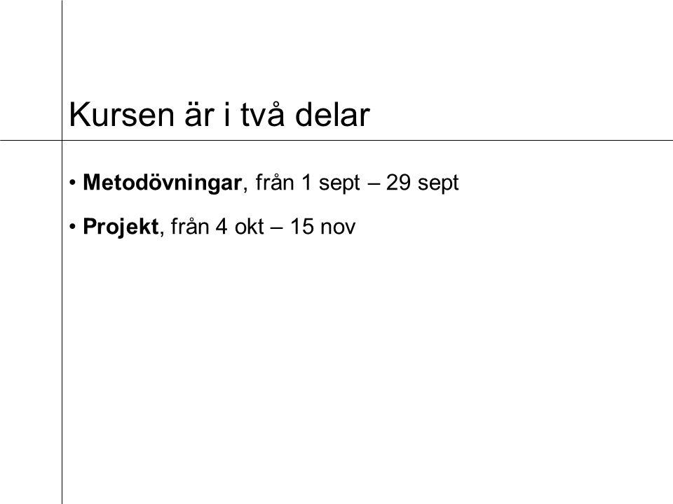 Kursen är i två delar Metodövningar, från 1 sept – 29 sept Projekt, från 4 okt – 15 nov
