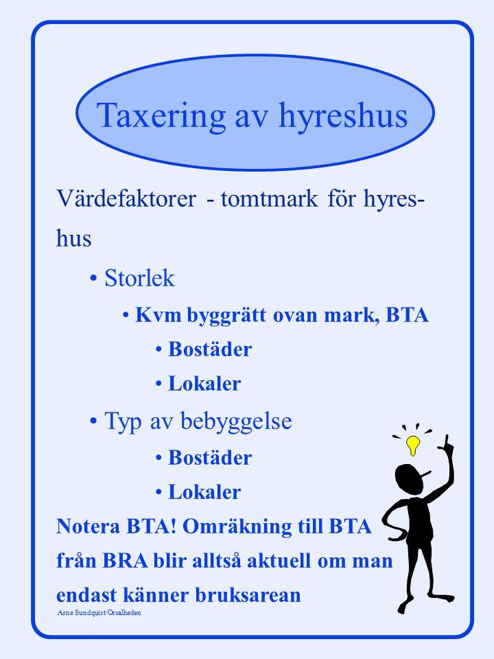 Taxering av hyreshus Arne Sundquist/Orsalheden Värdefaktorer - tomtmark för hyres- hus Storlek Kvm byggrätt ovan mark, BTA Bostäder Lokaler Typ av beb