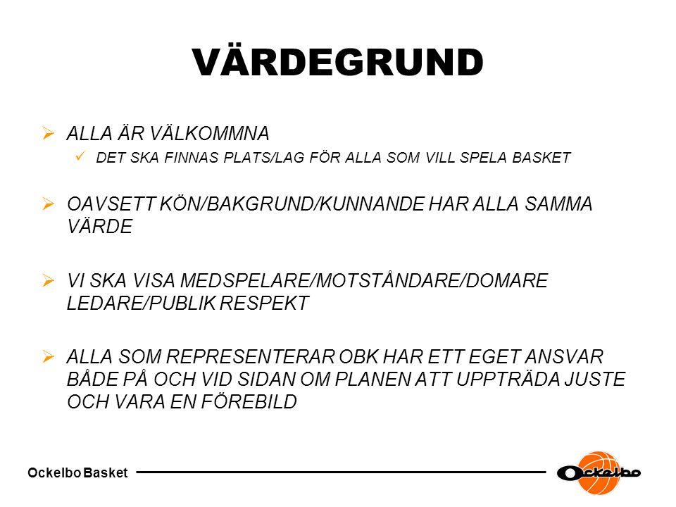 Ockelbo Basket VÄRDEGRUND  ALLA ÄR VÄLKOMMNA DET SKA FINNAS PLATS/LAG FÖR ALLA SOM VILL SPELA BASKET  OAVSETT KÖN/BAKGRUND/KUNNANDE HAR ALLA SAMMA VÄRDE  VI SKA VISA MEDSPELARE/MOTSTÅNDARE/DOMARE LEDARE/PUBLIK RESPEKT  ALLA SOM REPRESENTERAR OBK HAR ETT EGET ANSVAR BÅDE PÅ OCH VID SIDAN OM PLANEN ATT UPPTRÄDA JUSTE OCH VARA EN FÖREBILD