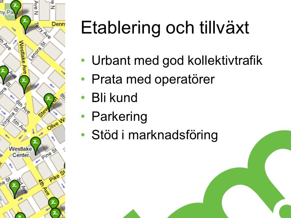 Etablering och tillväxt Urbant med god kollektivtrafik Prata med operatörer Bli kund Parkering Stöd i marknadsföring