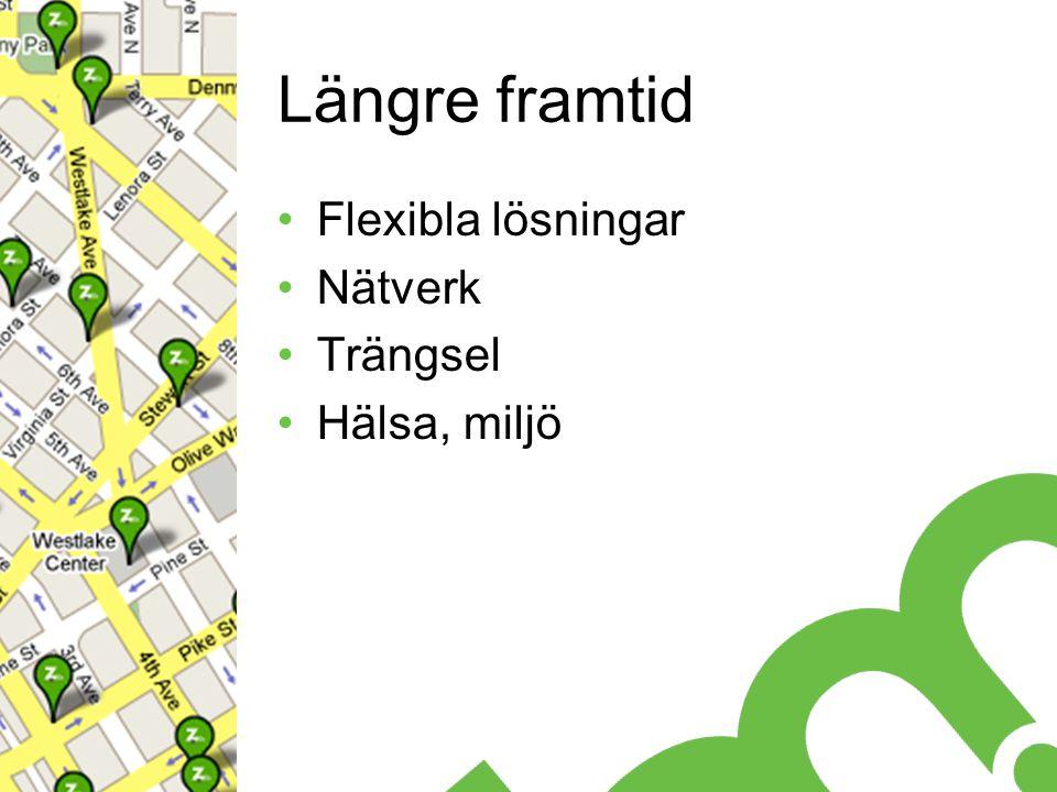 Längre framtid Flexibla lösningar Nätverk Trängsel Hälsa, miljö