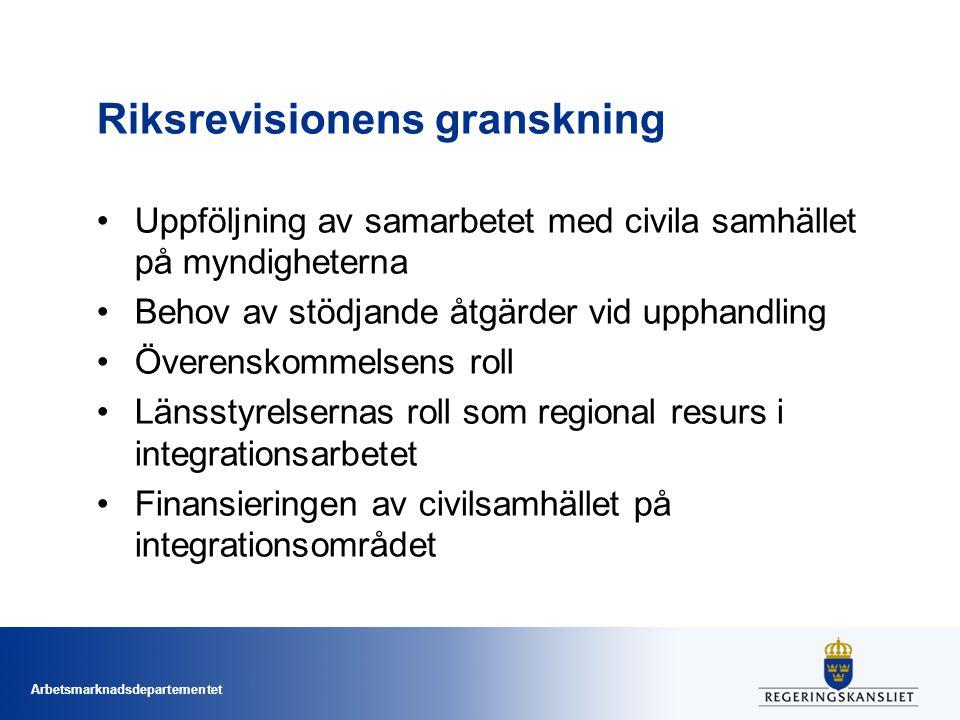 Arbetsmarknadsdepartementet Riksrevisionens granskning Uppföljning av samarbetet med civila samhället på myndigheterna Behov av stödjande åtgärder vid
